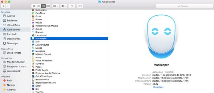 mackeeper instalado en un Mac
