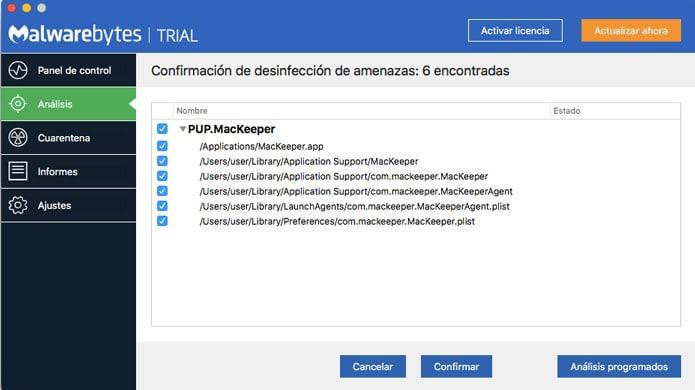 malware detectado con malwarebytes