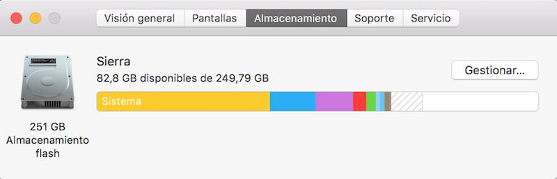 almacenamiento Mac