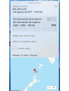 metadatos foto en app Fotos
