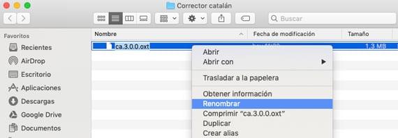 renombrar fichero oxt a zip en macOS