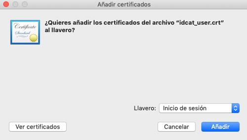 añadir certificado digital en MacOS