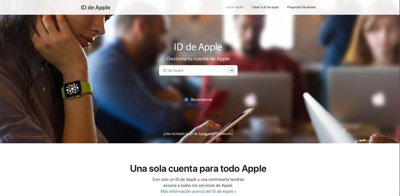 panel página ID Apple