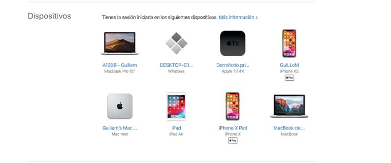 Dispositivos Apple vinculados a un ID