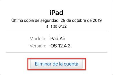 Eliminar dispositivo Apple de su cuenta